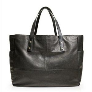 J. Crew Black leather Newsstand Tote bag purse